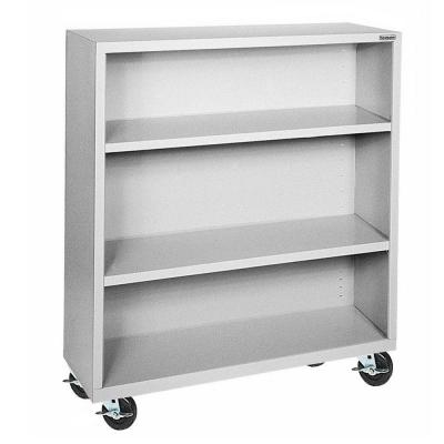 48 in. Dove Gray Metal 3-shelf Cart Bookcase with Adjustable Shelves