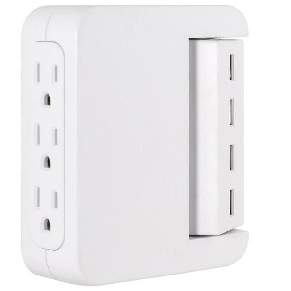 3-Outlet 4 USB Swivel Charging Station, White