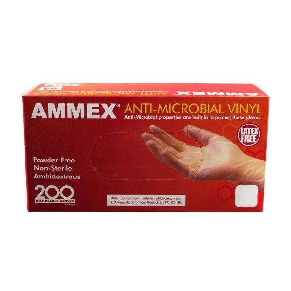 Clear Small - Box of 100 ASAP Vinyl Powder Free Industrial Multi-Purpose Gloves 2.0 mil Disposable