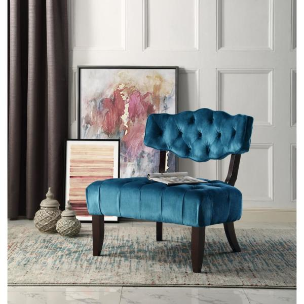 Inspired Home Aniston Teal Velvet Wingback Button Tufted Armless Slipper Chair