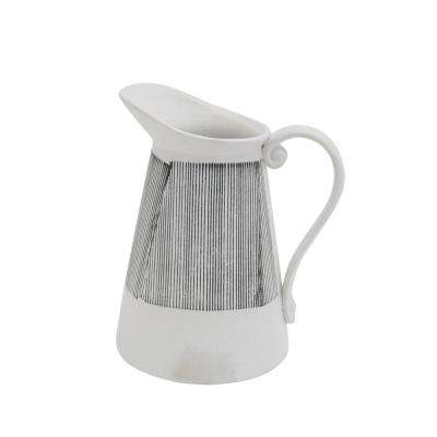 9.5 in. Gray Stripe Ceramic Pitcher Vase