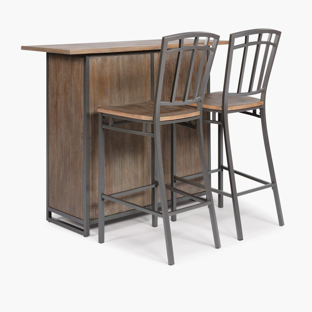 Barnside Metro Gray Bar with Stools
