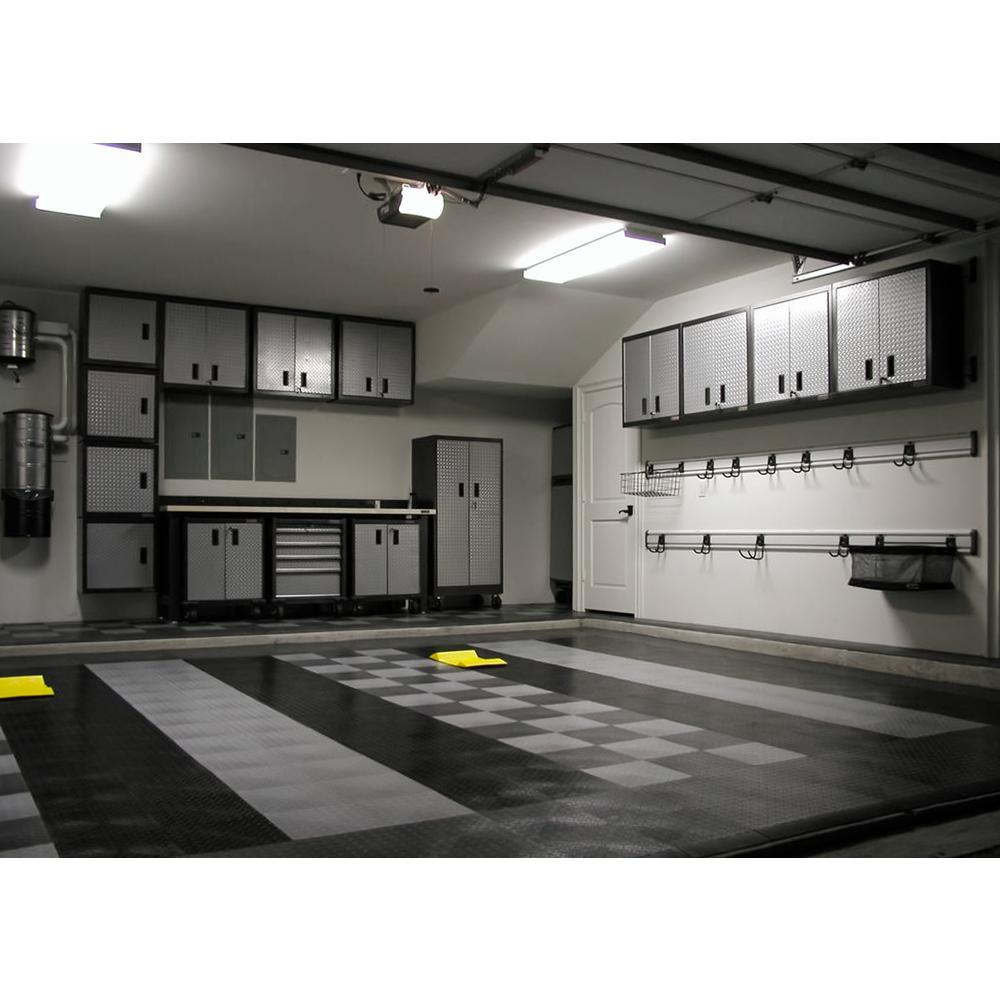 12 in. x 12 in. Diamond Graphite Modular Tile Garage Flooring (24-Pack)