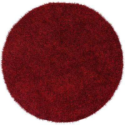 Mikhel Bright Red 8 ft. x 8 ft. Round Area Rug