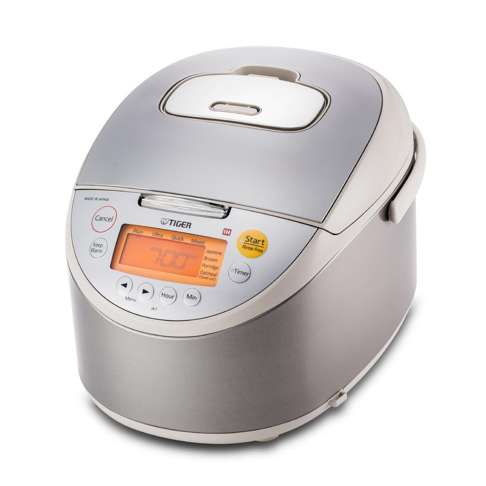 10 Cup Induction Heating Rice Cooker, Beige And Stainless Steel The TIGER JKT-B18U multi-functional induction heating (IH) rice cooker allows you to cook perfect rice with the power of IH. With the press of a button, Tigers Automatic Cooking Logic system actively monitors cooking temperatures to create perfect rice. With eight computerized menu settings, there is a setting to fit just about any kind of rice. Your morning oatmeal can also be made with the oatmeal setting. Color: Beige and Stainless Steel.