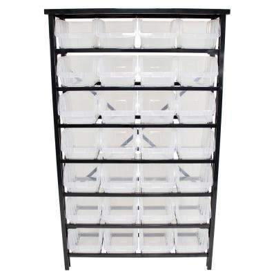 37 in. x 59 in. x 13 in. 28-Bin Parts Rack with Large Clear Plastic Tool Storage Bins and 7-Tiered Shelf in Glossy Black
