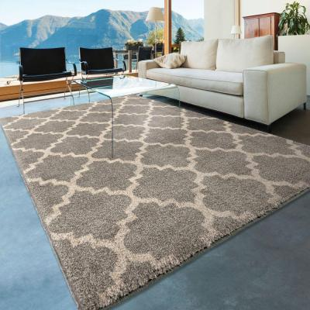 Ginter Gray 8 ft. x 11 ft. Geometric Trellis Indoor Area Rug