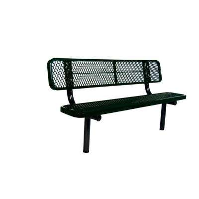 6 ft. Diamond Black Commercial Park Bench with Back Surface Mount