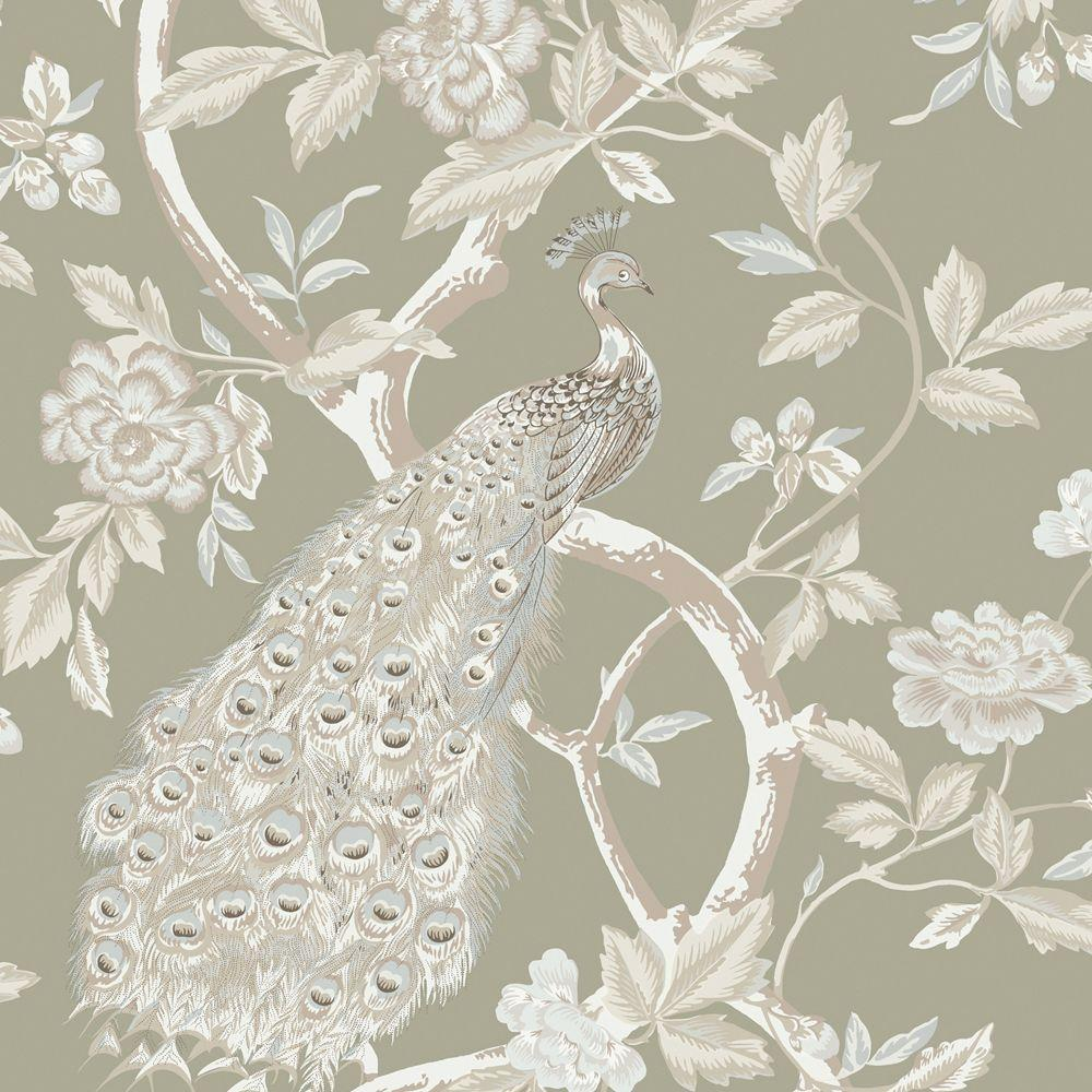 The Wallpaper Company 56 sq. ft. Ivory and Pewter Peacocks and Vines Wallpaper