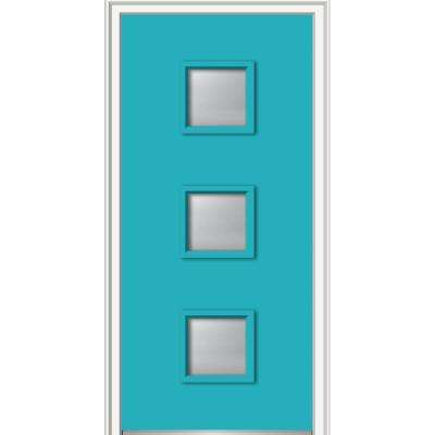36 in. x 80 in. Aveline Right-Hand Inswing 3-Lite Frosted Glass Painted Fiberglass Smooth Prehung Front Door