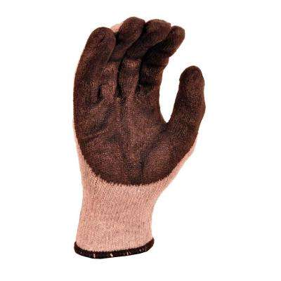 String Knit Palm Latex Dipped Black Large Gloves (10-Pair)