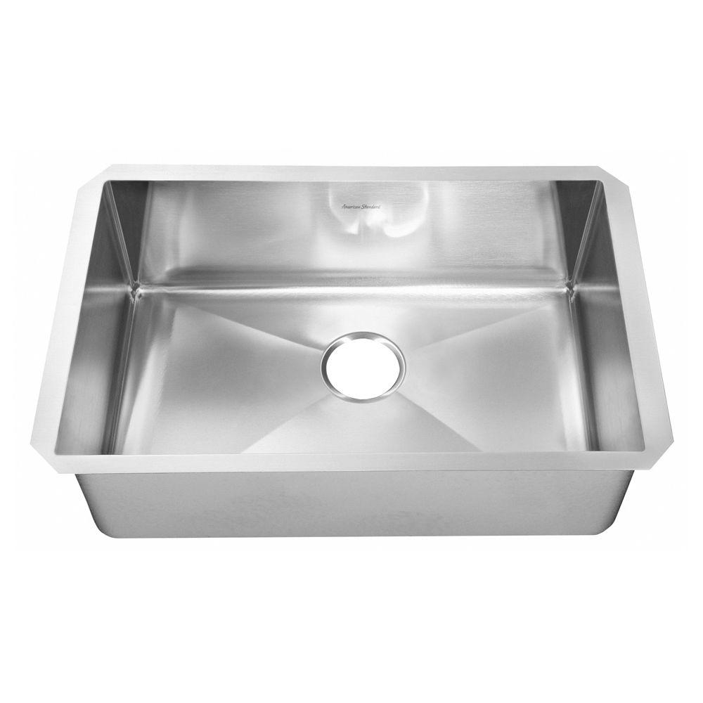 American Standard Prevoir Undermount Brushed Stainless Steel 35x18x10 in. 0-Hole Single Bowl Kitchen Sink-DISCONTINUED