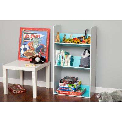 3-Tier White and Blue Book Cart