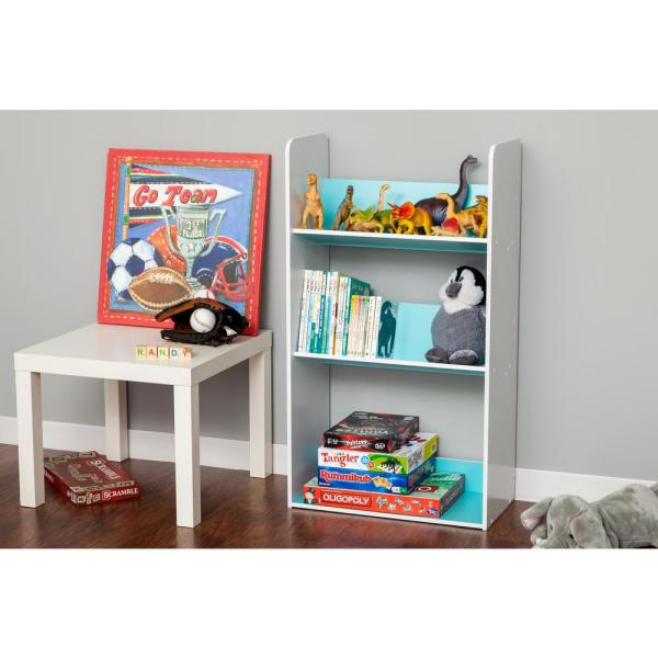 IRIS 3-Tier White and Blue Book Cart 596101
