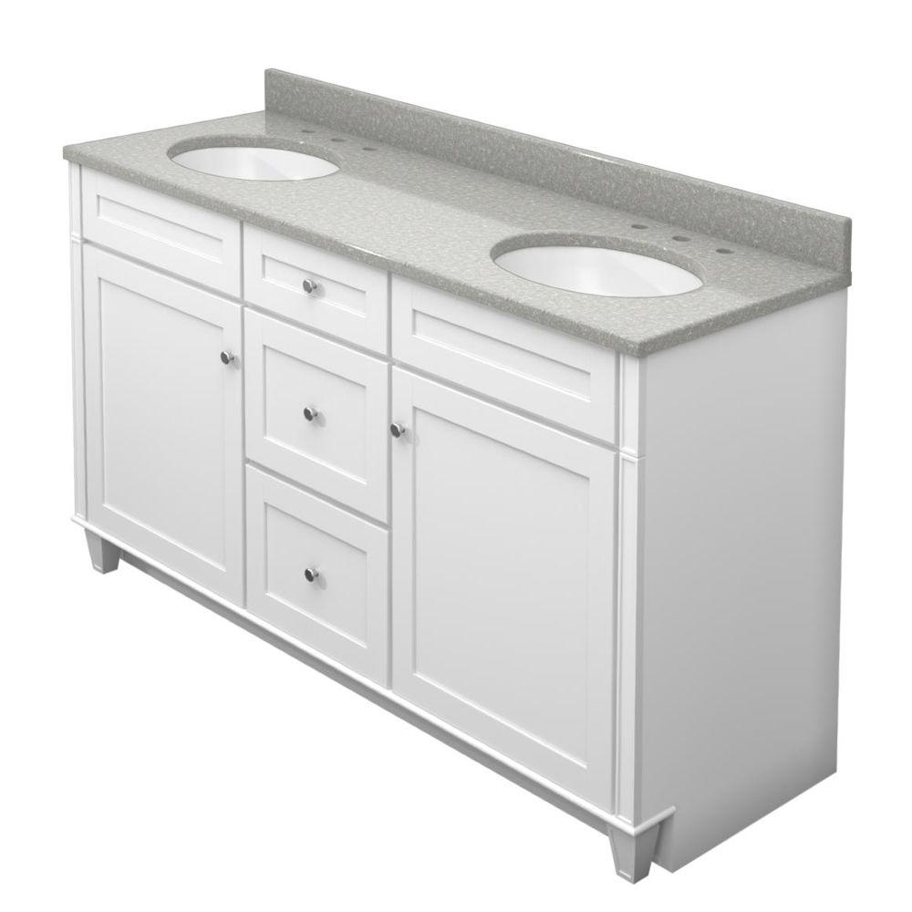 KraftMaid 60 in. Vanity in Dove White with Natural Quartz Vanity Top in Painted Turtle and White Double Sink