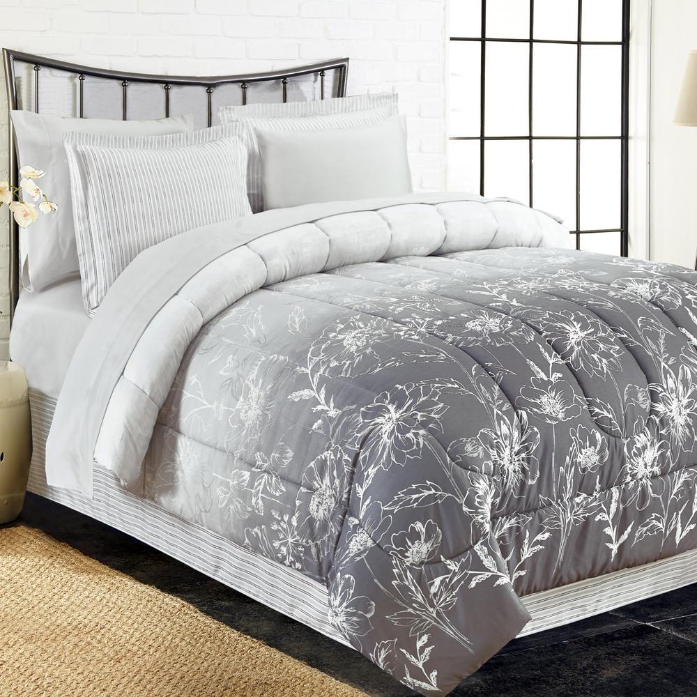 Brown & Grey Caroline 8-Piece Grey Queen Bed-In-Bag Set