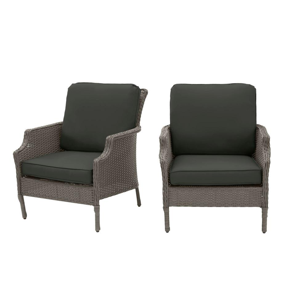 Hampton Bay Grayson Ash Gray Wicker Outdoor Patio Lounge with CushionGuard Graphite Dark Gray Cushions (2-Pack) was $299.0 now $239.2 (20.0% off)