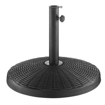 Wicker Style Round Patio Umbrella Base in Black