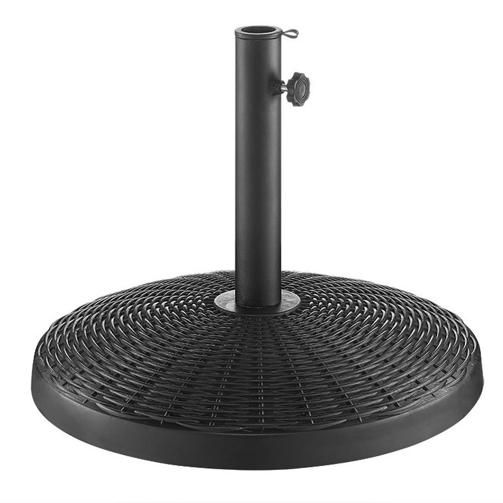 Wicker Style Round Patio Umbrella Base in Black
