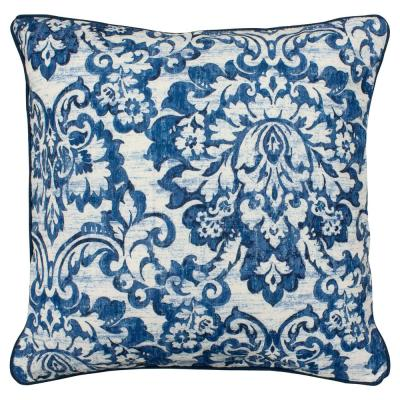Sultan White and Navy Floral Down 20 in. x 20 in. Throw Pillow