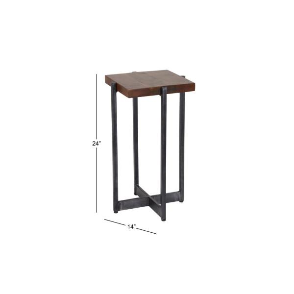 Poly Side Table With Black Rustic Iron