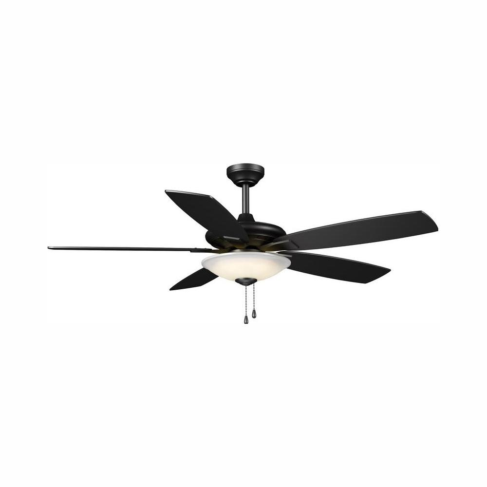 Hampton Bay Menage 52 in. Integrated LED Indoor Low Profile  Matte Black Ceiling Fan with Light Kit