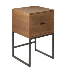 Langley Espresso and Gunmetal 1-Drawer Side Table