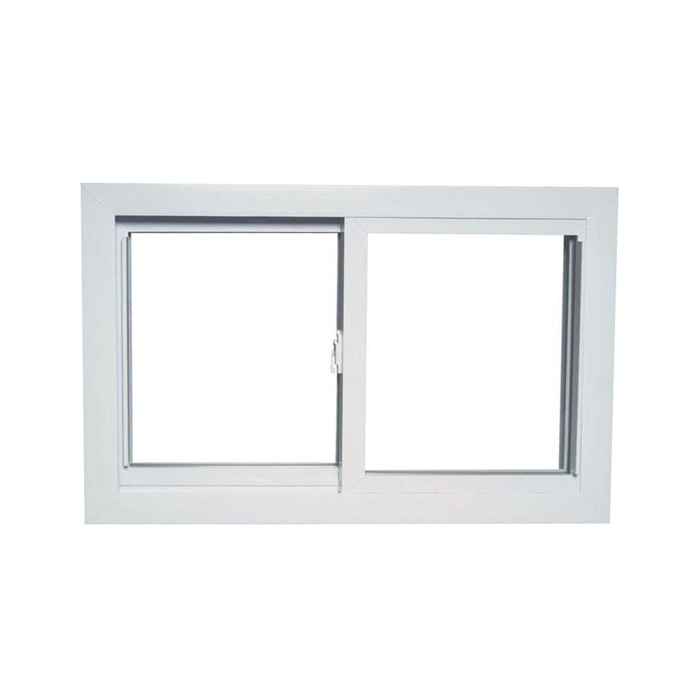 36 in. x 24 in. 70 Series Universal/Reversible Sliding White Vinyl Window with Buck Frame