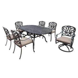 Oakland Living Cast Aluminum 7-Piece Oval Patio Dining Set with SpunPoly Beige Cushions by Oakland Living