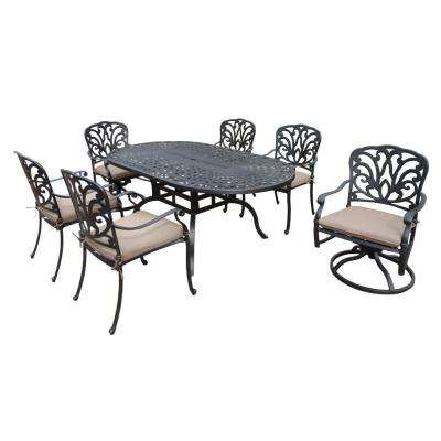 Cast Aluminum 7-Piece Oval Patio Dining Set with SpunPoly Beige Cushions