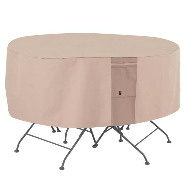 Monterey Water Resistant Round Outdoor Patio Table and Chair Cover, 94 in. DIA x 23 in. H, Beige