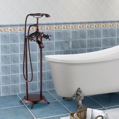 40 in. H x 8 in. W Single-Handle Claw Foot Tub Faucet with Hand Shower in Oil Rubbed Bronze