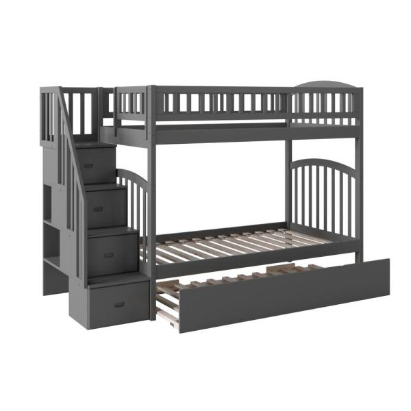 Atlantic Furniture Westbrook Grey Twin Over Twin Staircase Bunk with Twin Size Urban Trundle Bed