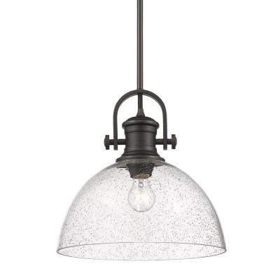 Hines 1-Light Rubbed Bronze with Seeded Glass Pendant
