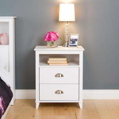 Yaletown 2-Drawer White Nightstand