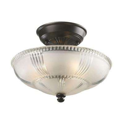 3-Light Oiled Bronze Semi-Flush Mount Light