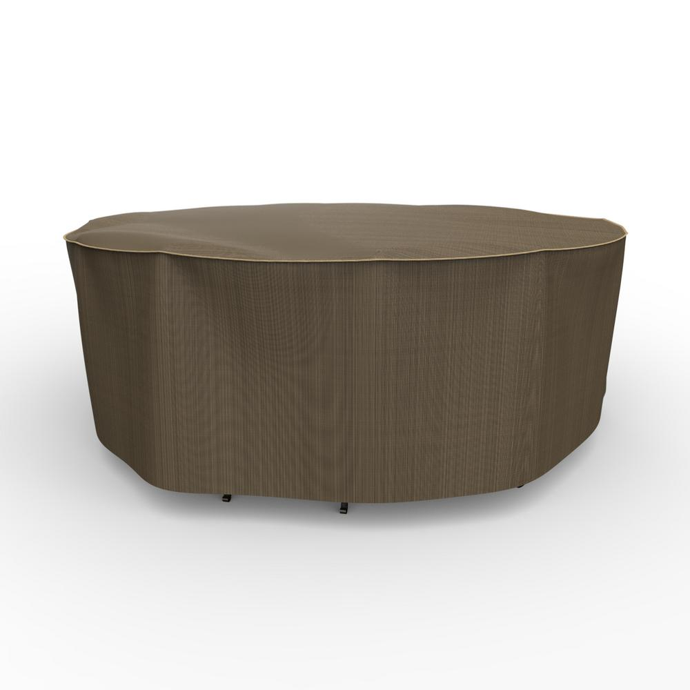 Budge NeverWet Hillside Medium Black and Tan Round Table and Chairs Combo Cover