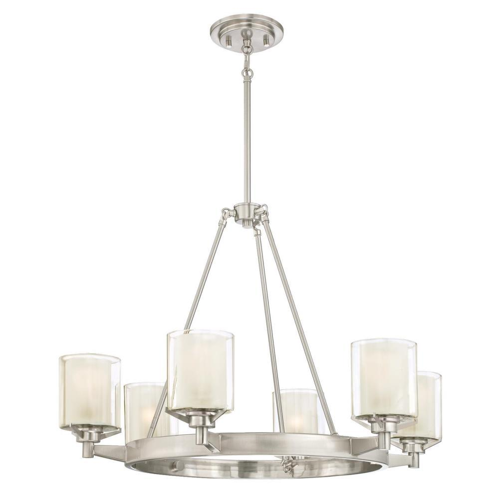Westinghouse Glenford 6-Light Brushed Nickel Chandelier with Frosted Glass Inner and Clear Glass Outer Shades