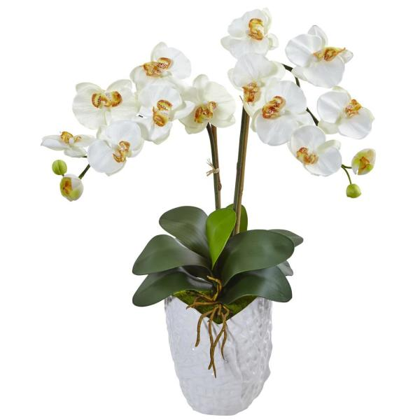 Nearly Natural Indoor Double Phalaenopsis Orchid Silk Arrangement in White Vase