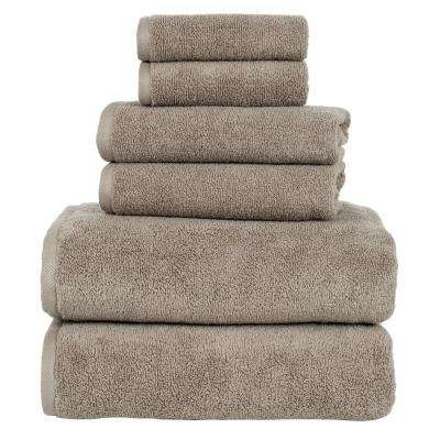 100% Egyptian Cotton Zero Twist Towel Set in Taupe (6-Piece)
