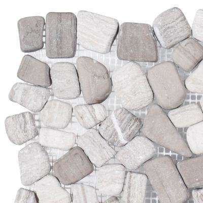 Bailey Grey Pebble 3 in. x 6 in. x 10 mm Honed Marble Mosaic Tile Sample