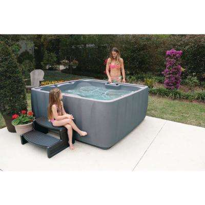 Premium 600 6-Person Plug and Play Hot Tub with 29 Stainless Jets, Heater, Ozone and LED Waterfall in Graystone