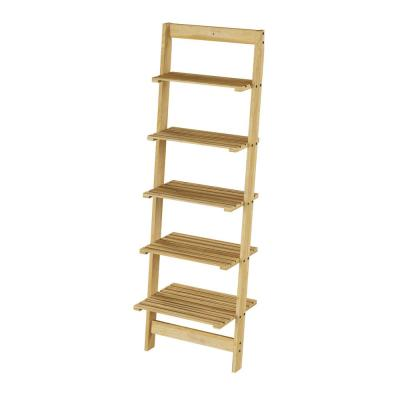 50 in. Pickled Oak Wood 5-shelf Ladder Bookcase with Open Back