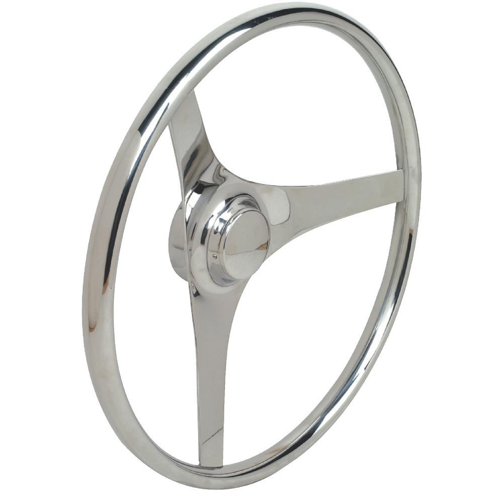 15 in. 3 Spoke Stainless Steel Flat Steering Wheel