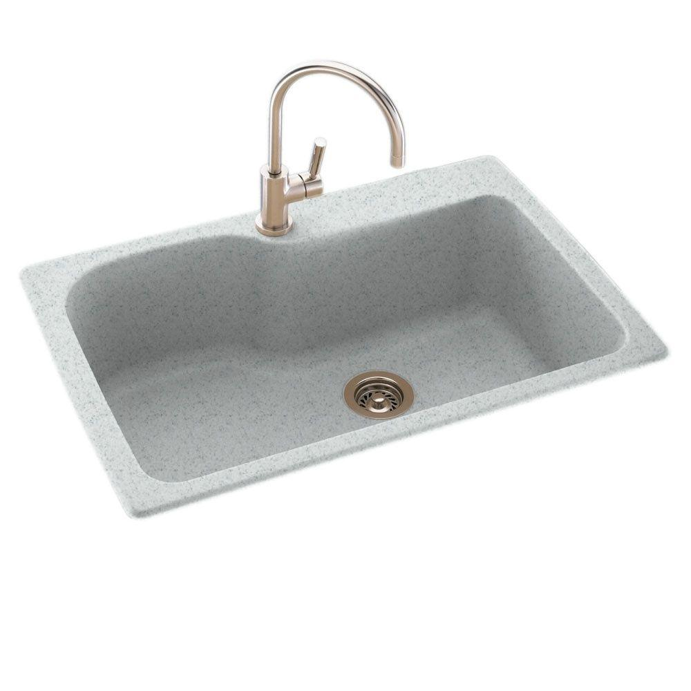 Awesome Swan Drop In Undermount Solid Surface 33 In 1 Hole Single Bowl Kitchen Sink In Tahiti Gray Download Free Architecture Designs Scobabritishbridgeorg