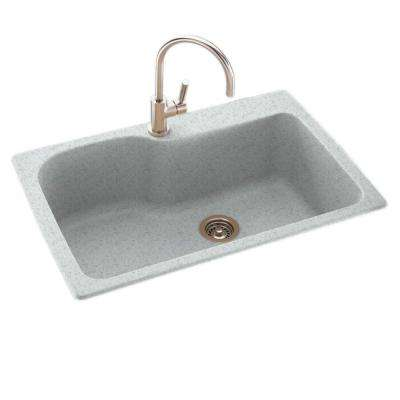 Drop-In/Undermount Composite 33 in. 1-Hole Single Bowl Kitchen Sink in Tahiti Gray