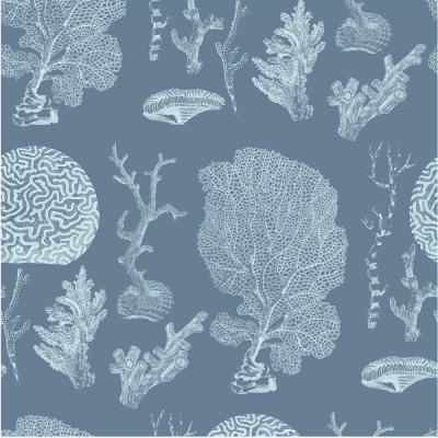 Debut Collection The Reef in Dusty Blue Removable and Repositionable Wallpaper
