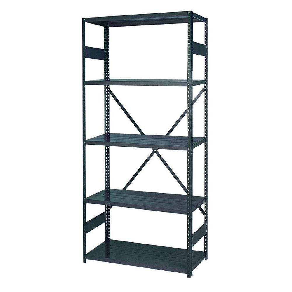 Edsal 75 in. H x 36 in. W x 18 in. D 5-Shelf Steel Commercial Shelving Unit in Gray