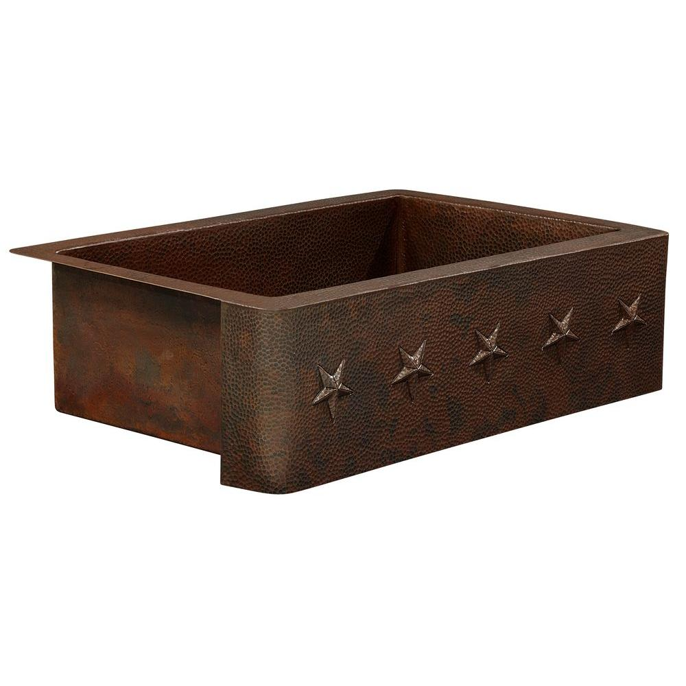 SINKOLOGY Rodin Farmhouse Apron Front Handmade Pure Solid Copper 36 in. Single Basin Copper Kitchen Sink with Star Design