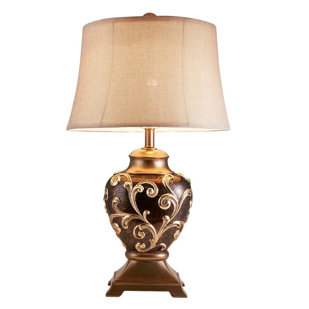 Brown Odysseus Baroque Table Lamp